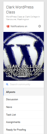 ClarkWP Google+ Community navigation sidebar.