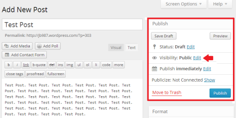 Making sticky post through publish panel