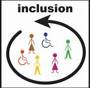 this is a photo of colored stick figures with two of them in wheelchairs with a black cirlce aorund and the word inclusion at the top.