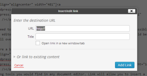 Adding a link in the Visual Editor of WordPress.