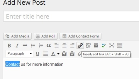 How to add a link in the visual editor