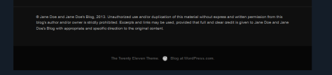 Example of Copyright Notice in WordPress Theme Widget Footer.