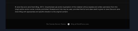 Example of Copyright Notice in WordPress Theme Widget Footer.