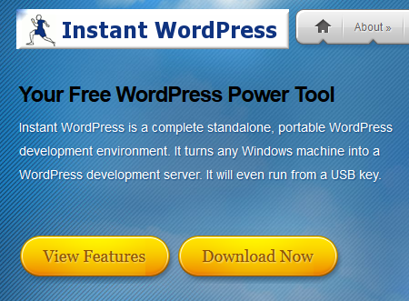 Instant WordPress home page.