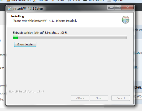This is the installation progress window.