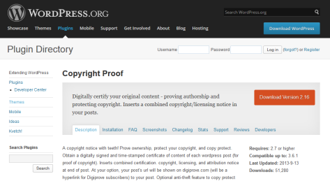Copyright Proof WordPress Plugin feature page.