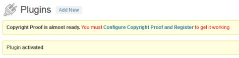 Configuration of Copyright Proof WordPress Plugin.
