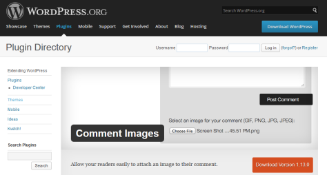 """This is the WordPress plugins page for the """"Comment Images"""" WordPress plugin."""