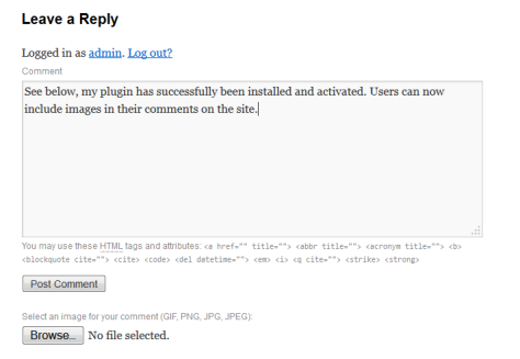This is a comment box I am using to test the plugin.