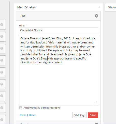 Example of copyright notice in WordPress Text Widget.