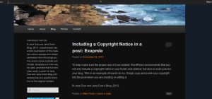 Example of copyright notice on published post in WordPress.