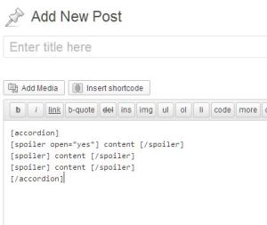 Screenshot of how to add the shortcode for the WordPress Plugin.