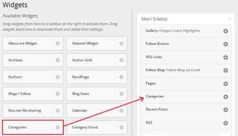 Selecting Categories Widget