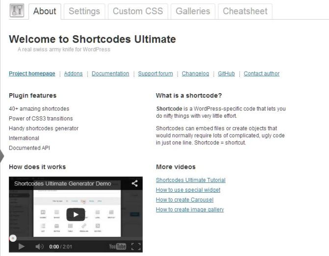 screenshot of shortcodes ultimate