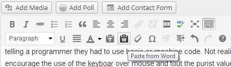 W Paste from MS Word Button in the Kitchen Sink