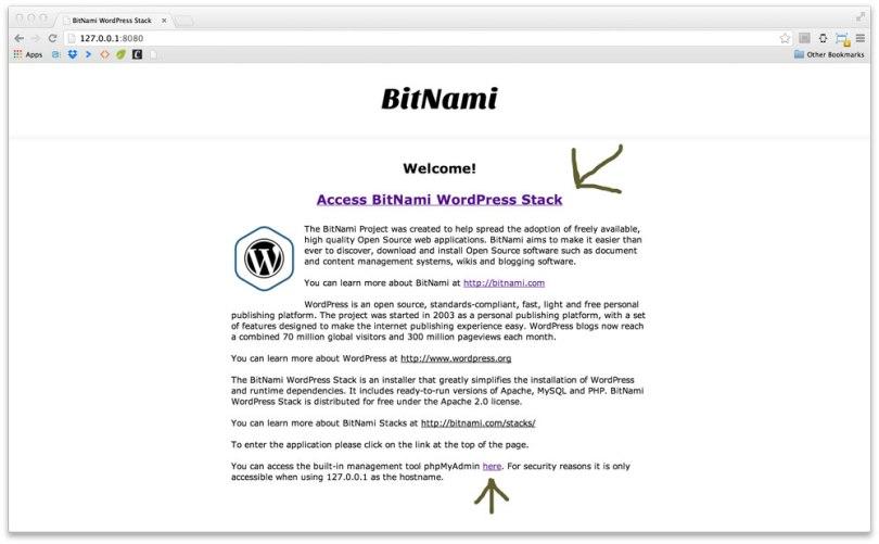 Bitnami installation complete notification.