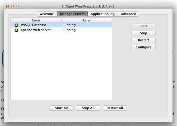 Server Manager on a Mac for Bitnami.