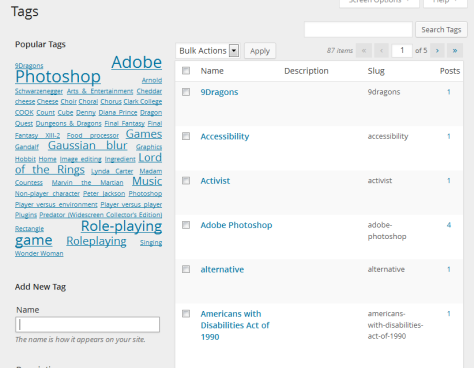 The Administration Panel for WordPress Tags.