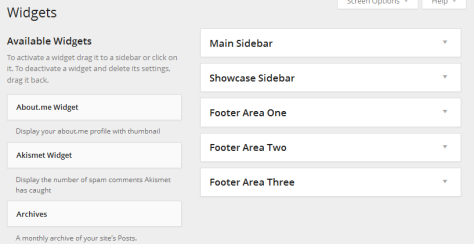 Widgets in a sidebar in the WordPress Widgets Panel.