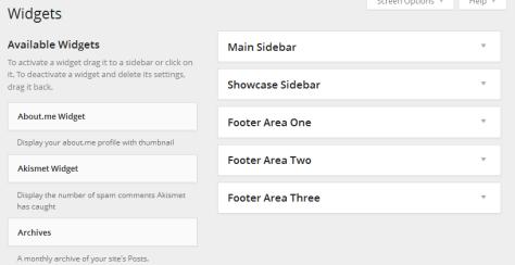 Widgets in a sidebar in the WordPress Widgets Panel.