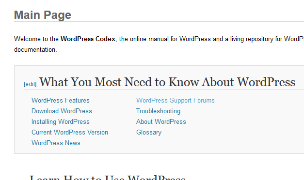 Front Page of the WordPress Codex.