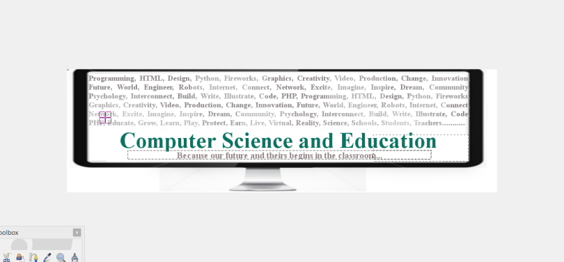 Graphic of a Computer Screen with words describing computer science.