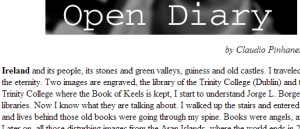 "A section of an online diary, featuring the title ""Open Diary by Claudio Pinhanez"" at the top and text about Ireland underneath it."