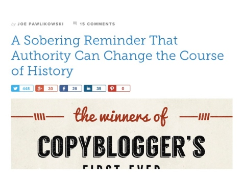 A screen shot of blog post title that uses evocative language.
