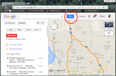 This is a picture of Google maps and how to use the search button.