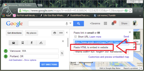 This is a picture of what you copy and paste in your WordPress to get a Google Map.