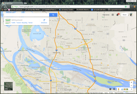 This is a picture of a screenshot of how the new Google Maps looks like.