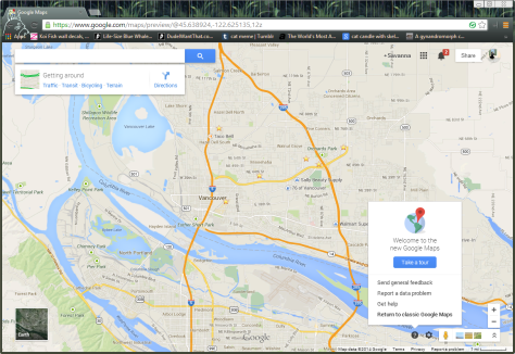 This is a picture of a screenshot of Google Maps and how to get back to classic maps.