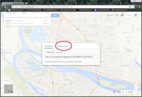 This is a screenshot of how to get to html code in the new Google Maps.