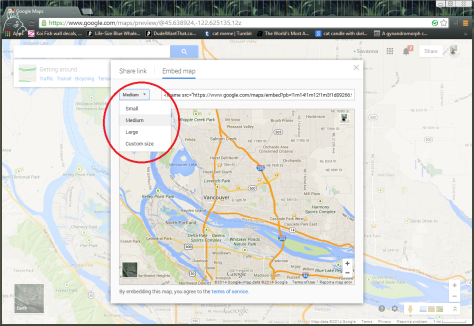 This is a screenshot of how to change the size of your google map you are going to embed to your WordPress.