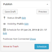 WordPress publishing module with scheduled time.