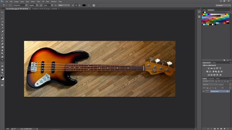 picture of bass guitar opened in photoshop