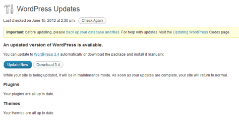 WordPress update notification.