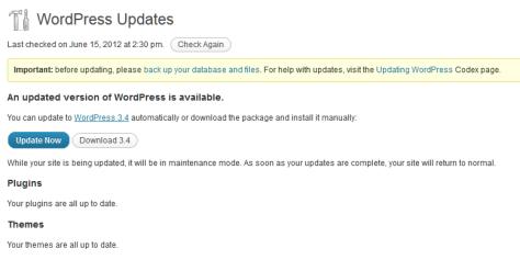 WordPress update notification.