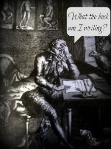 "Black and white illustration of a man sitting at a desk asking, ""What the heck am I writing?"""