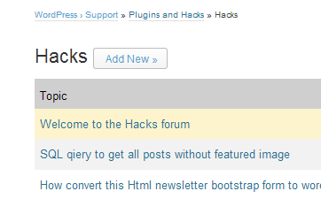 "A picture of the ""Add New"" button on WordPress.org's forum page"