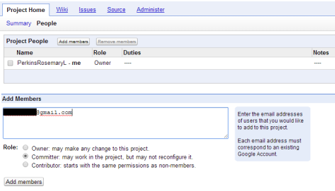 The page showing the information required to add a person to a Subversion project.