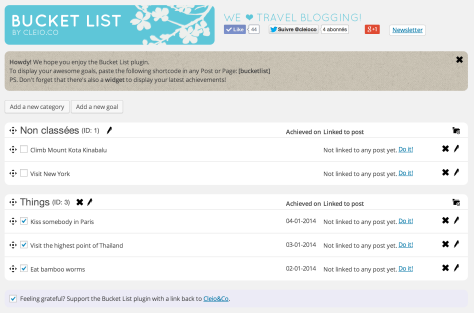 Screen shot showing the back-end of the Bucket List Plugin for WordPress.