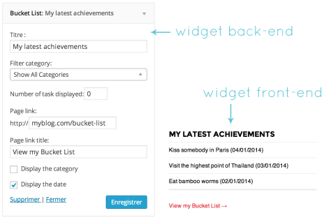 Screen shot of the Bucket List widget for WordPress showing both the front-end and the back-end .
