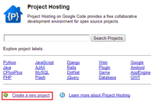 The front page for Google Code's project hosting.