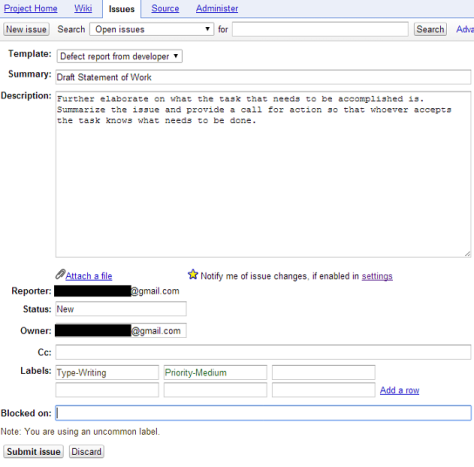 Screenshot of the page showing the information needed to create a new issue in Subversion.