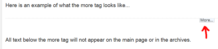 A screenshot of what the more tag looks like in the visual editor of WordPress