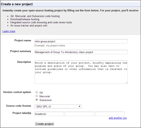 The page prompting for information to create a new Subversion project.