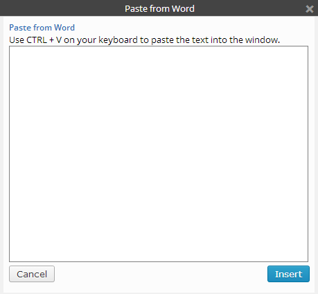 This is a picture showing the pop-up window for the paste from word button on the kitchen sink.