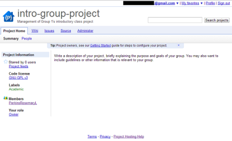 The home page of an example Subversion project.