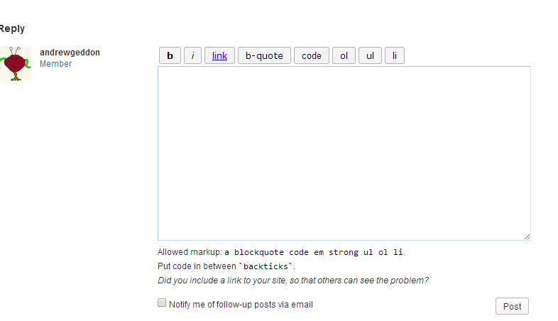 A picture of a reply form to a WordPress.org forum post